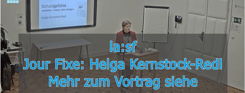 Video des Vortrags von Helga Kernstock-Redl beim Jour Fixe am 13. März 2021 an der la:sf. Titel: Schuldgefühle verstehen, nutzen oder ablegen