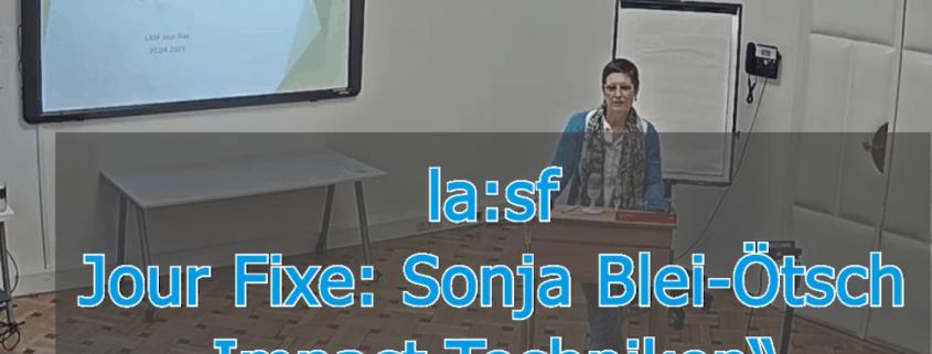 screenshot der Videoaufnahme des Jour Fixes von Sonja Blei-Ötsch zum Thema Impact-Techniken